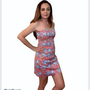 Kaeli Smith Blue Crab Strapless Bodycon Dress 8